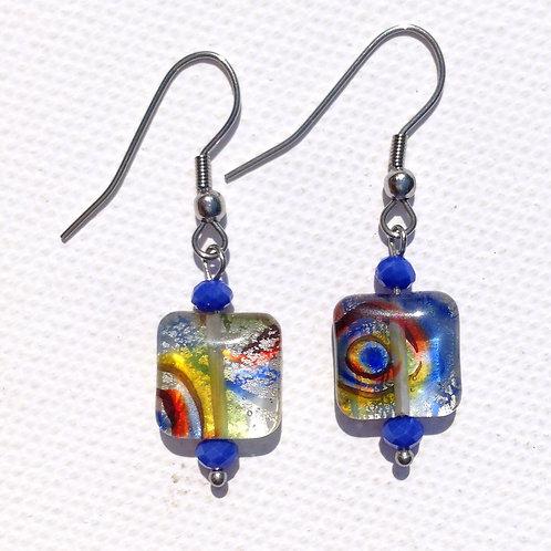 Boucles d'oreille verre artisanal carré multicolore