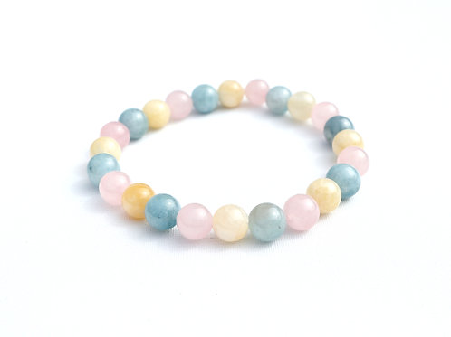 Bracelet Aigue Marine, Calcite, Quartz rose