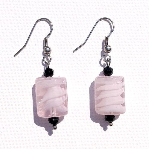 Boucles d'oreilles rectangulaire rose et cristal