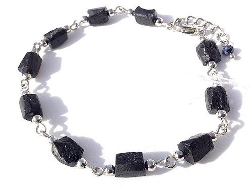 Bracelet tourmaline noire brute et acier inoxydable