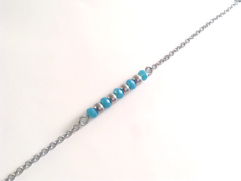 "Bracelet acier inoxydable et cristal "" bleu bondi """