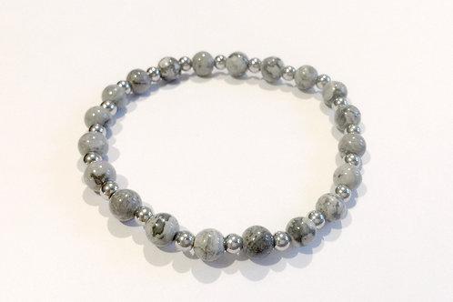 Bracelet jaspe paysage gris et acier