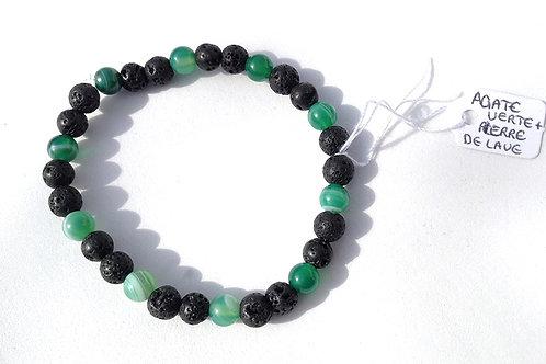 Bracelet agate verte et pierre de lave