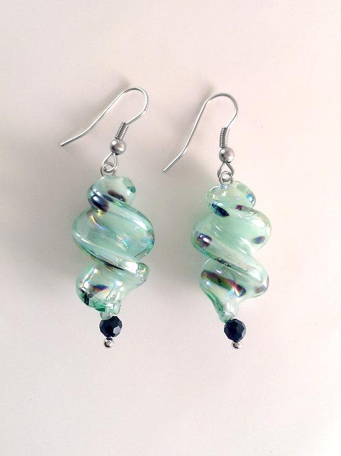 Boucles d'oreilles verre artisanal vert et cristal