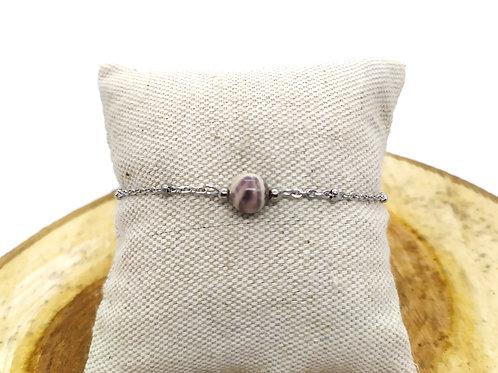 Bracelet acier inoxydable et jaspe porcelaine