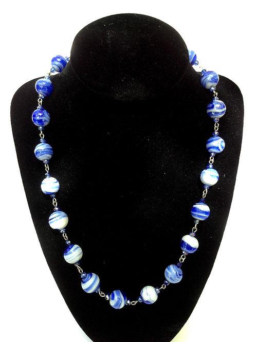 Collier perles de verre artisanal bleu et cristal