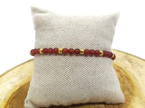Bracelet cornaline et acier inoxydable doré