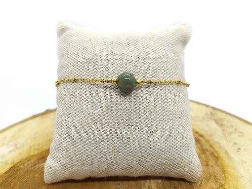 Bracelet acier inoxydable doré et jade