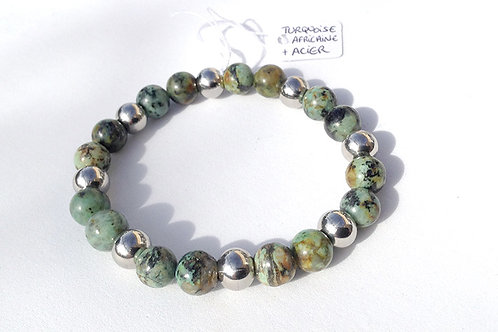 Bracelet turquoise africaine et acier inoxydable