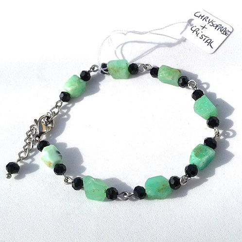Bracelet chrysoprase brute, cristal et acier inoxydable