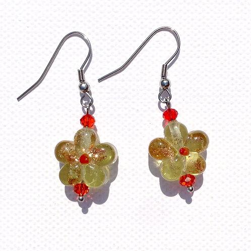 Boucles d'oreilles fleurs rouge et or