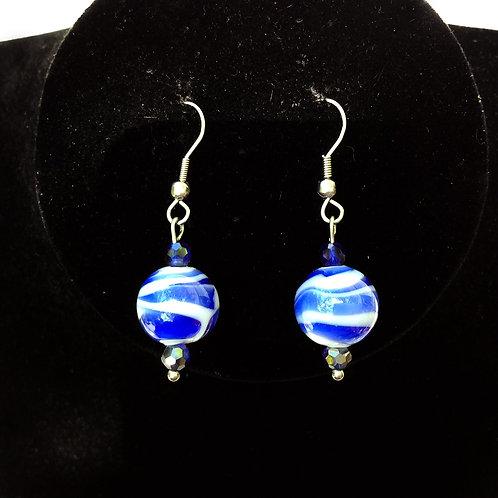 Boucles d'oreilles perles de verre bleu et cristal