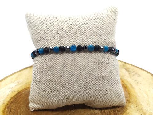 Bracelet apatite bleue, hématite et agate noire mate