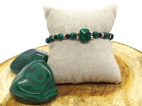 Bracelet malachite, obsidienne œil céleste et acier inoxydable
