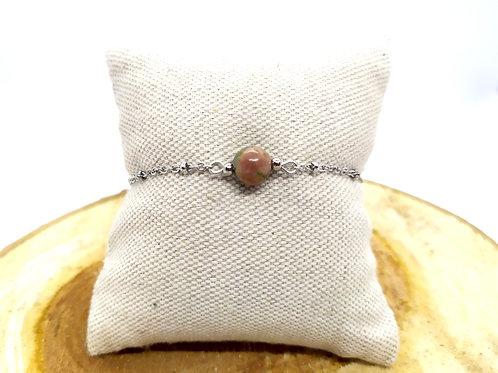 Bracelet acier inoxydable et unakite
