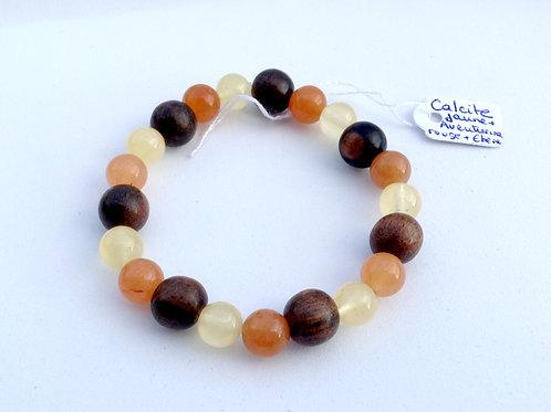 Bracelet calcite jaune, aventurine orange et ébène