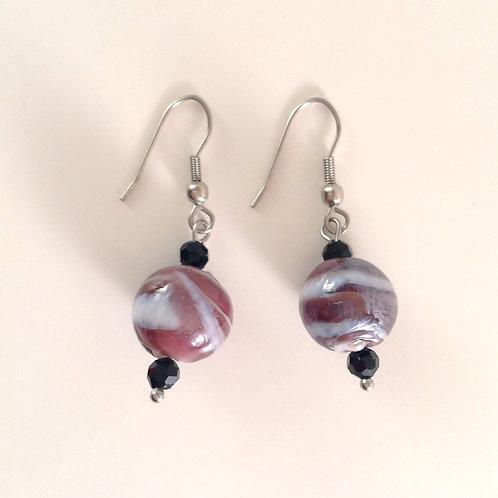 Boucles d'oreilles perles de verre artisanal mauve et blanche