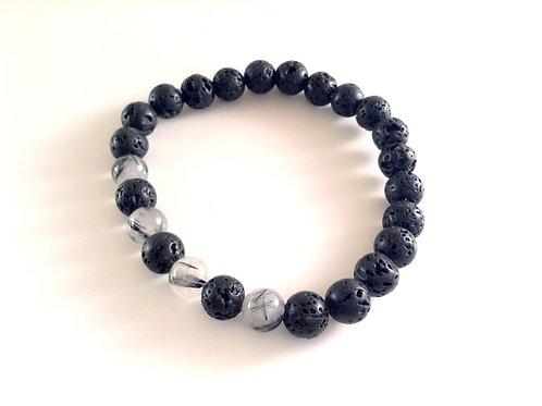 Bracelet quartz tourmaline et pierre de lave