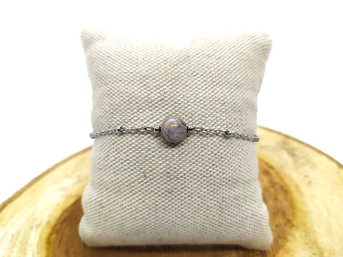 Bracelet acier inoxydable et agate crazy lace