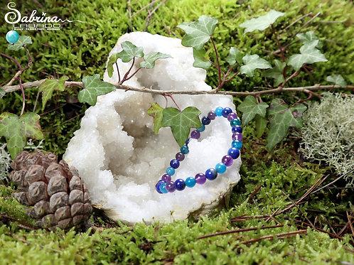 Bracelet Apatite bleue, Lapis Lazuli, Améthyste