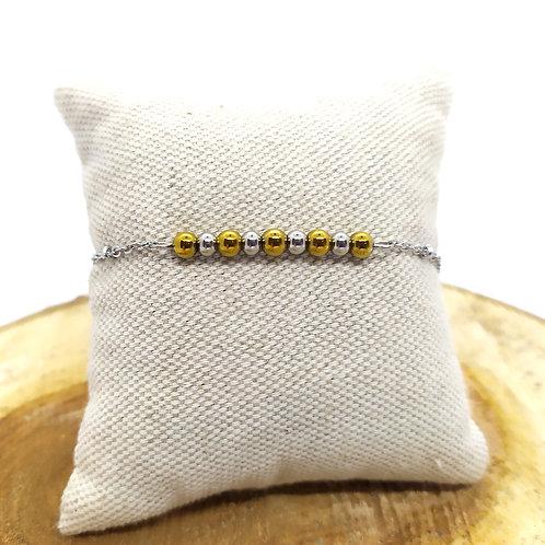 Bracelet acier inoxydable et hématite dorée