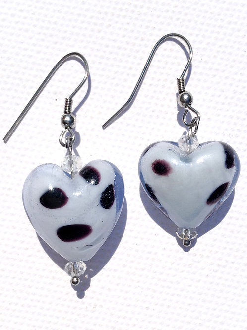 Boucles d'oreilles coeur bleu mouchetté et cristal