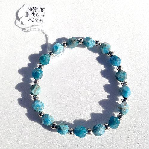 Bracelet apatite bleue facettée et acier inoxydable