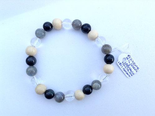 Bracelet labradorite, cristal, obsidienne oeil céleste et bois de pangantoon