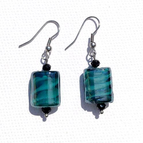 Boucles d'oreilles rectangulaire bleu canard et cristal
