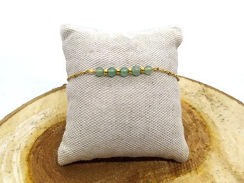 Bracelet acier inoxydable doré et aventurine verte