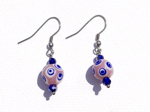 Boucles d'oreilles perles de verre artisanal mauve et bleue