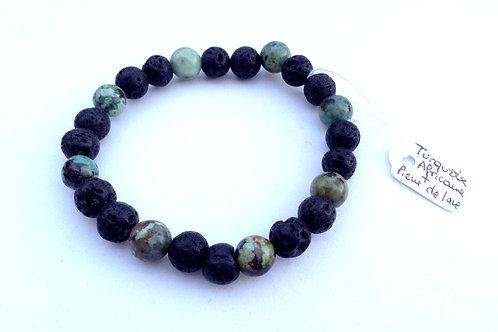 Bracelet pierre de lave et turquoise africaine