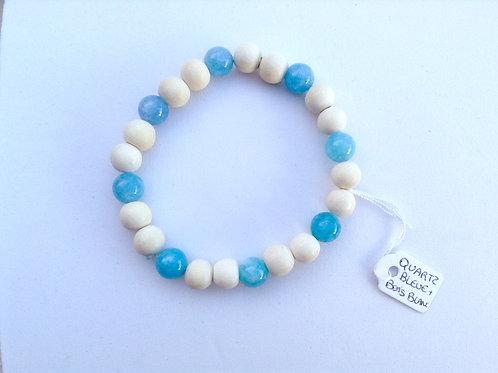 Bracelet quartz bleu et bois blanc