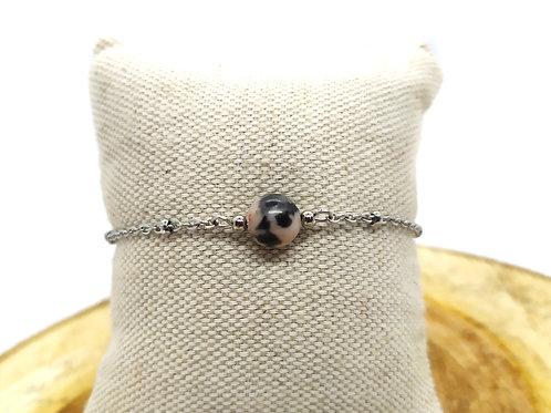Bracelet acier inoxydable et jaspe rose-gris