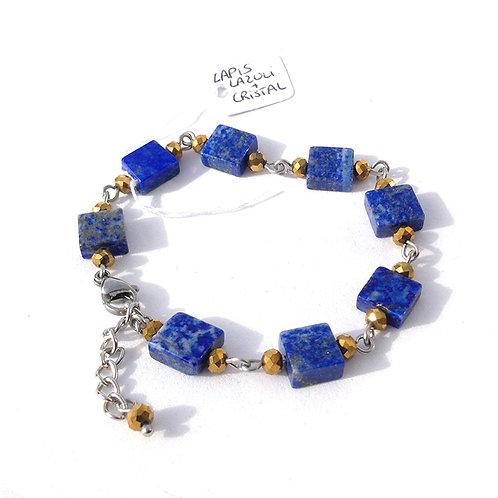 Bracelet carré lapis lazuli, cristal et acier inoxydable