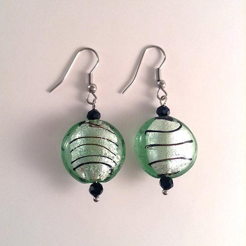 Boucles d'oreilles verre artisanales vertes et noire