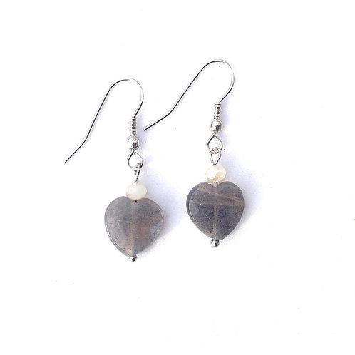 """Boucles d'oreilles """"cœur de lune gris"""""""