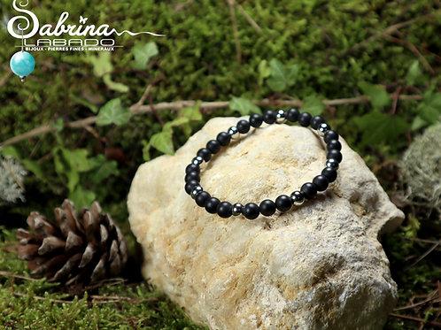 Bracelet Agate noire mate et acier inoxydable