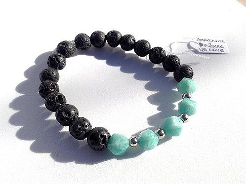 Bracelet Amazonite, Pierre de lave et Acier inoxydable