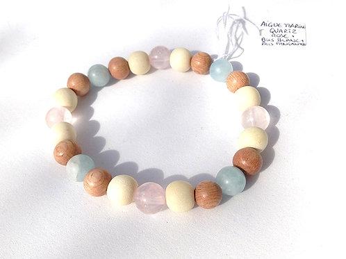 Bracelet aigue marine mat, quartz rose, bois de rose et bois blanc