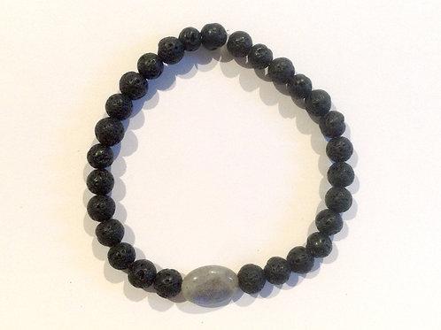 Bracelet pierre de lave et labradorite