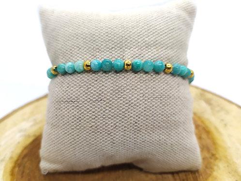 Bracelet Amazonite et acier inoxydable doré