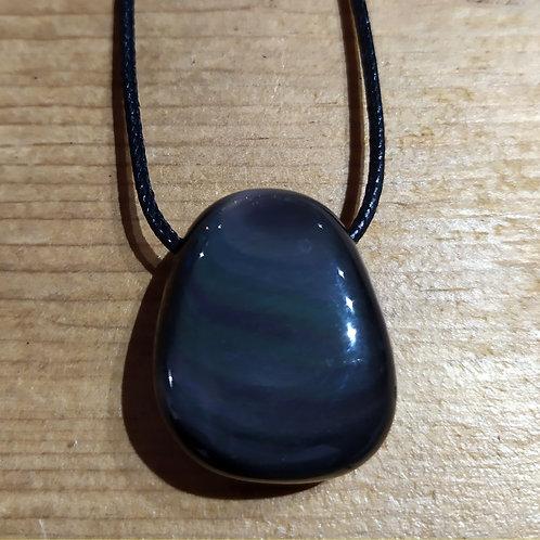 Pendentif Obsidienne Oeil Céleste sur cordon