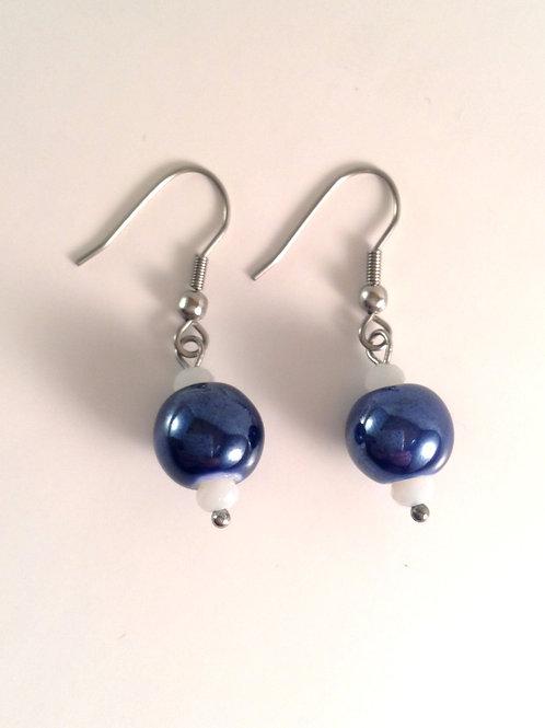 Boucles d'oreilles en porcelaine bleu et cristal blanc