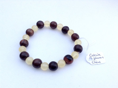 Bracelet Calcite jaune et Ebène