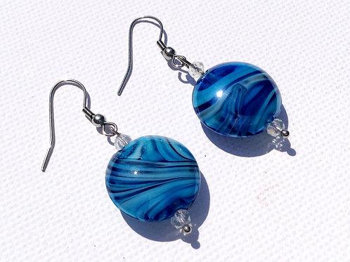 Boucles d'oreilles palets bleu et cristal