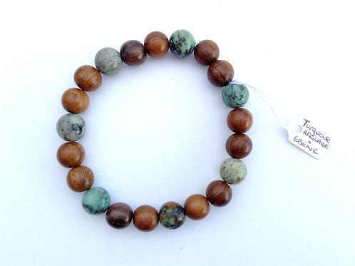 Bracelet turquoise africaine et ébène tigre