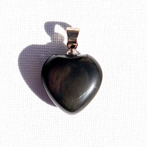 Pendentif Obsidienne Oeil Céleste coeur