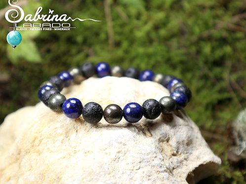Bracelet Lapis lazuli, pyrite et pierre de lave