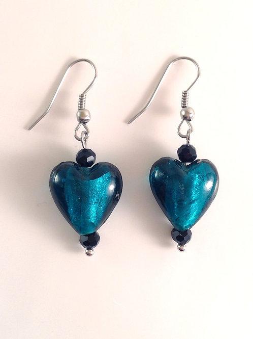 Boucles d'oreilles coeur bleu canard et cristal